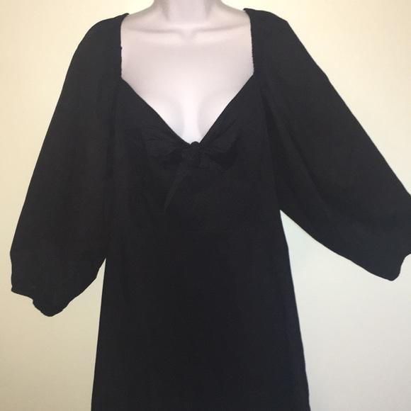 ASOS Dresses & Skirts - ASOS black tie front puffy sleeve dress